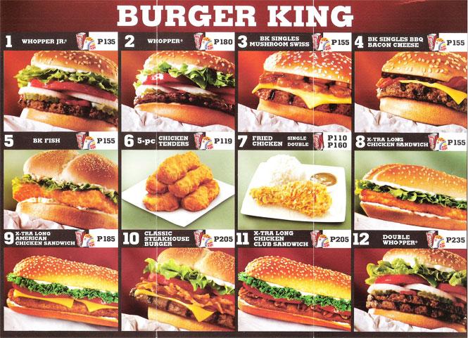Les fameux hamburgers Burger King