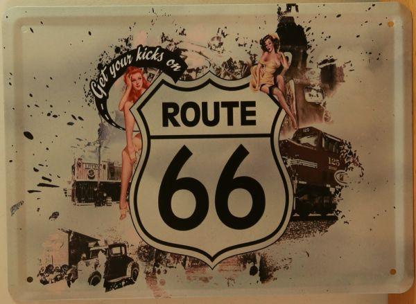 Affichez votre envie d'évasion avec la plaque décorative en métal Route 66