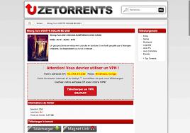 avertissement du site ZeTorrent sur l'utilisation de VPN